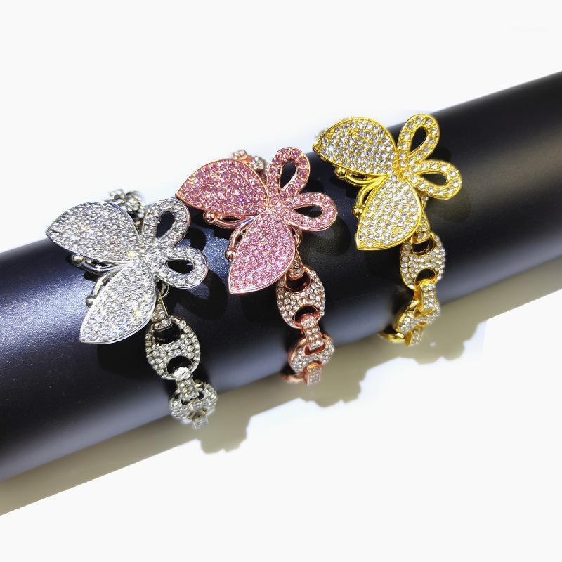 Charm Bracelets 12mm Coffee Bean Cuban Link Bracelet Rose Gold Color Butterfly Bling Women Men Jewelry Micro Pave Zircon Pig Nose Hip Hop Ch