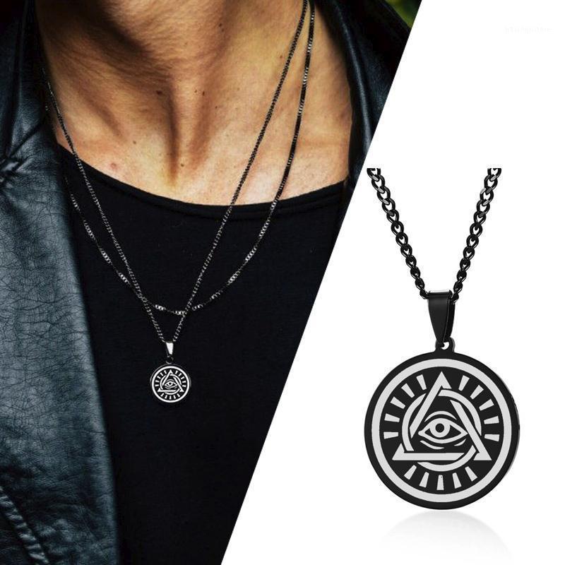 Mystic Eye of God Disc Pendenti e collane per uomo Gioielli in acciaio inox1