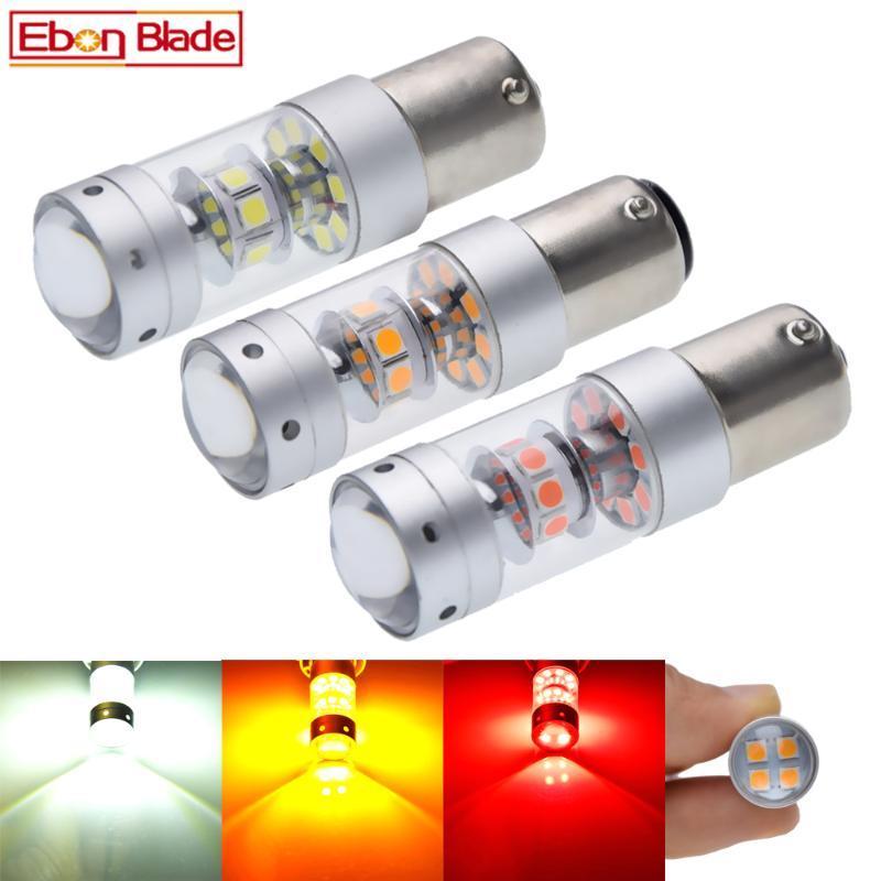 1156 BA15S P21W 1157 BAY15d P21 / 5W Araç LED Işık 3030 140W Otomatik Fren Ters Sinyal DRL Ampul Lamba 12V 24V Beyaz Kırmızı Amber çevirin