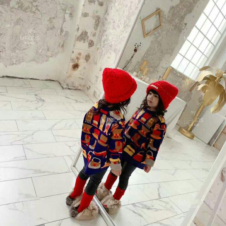 INS Kids Colorful Pattern Sweater New Girls Long Sleeve Knitted Pullover Children Fun Knitting Jumper Girls princess sweater A4860