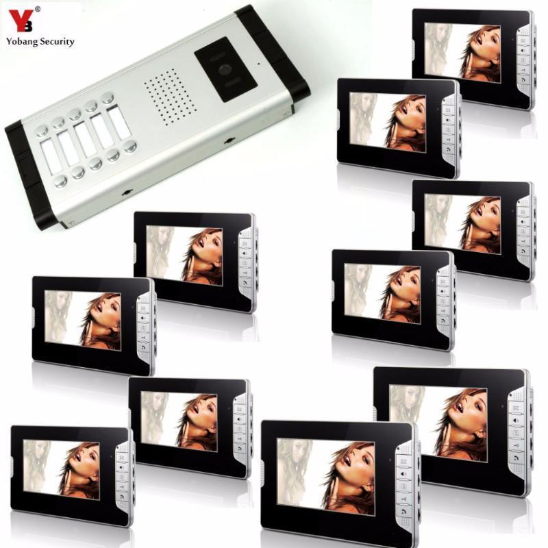 """Yobang Segurança Wired 7"""" Sistema de Entrada de Vídeo porta telefone video da porta Intercom Doorbell Home Security 10 unidades de apartamentos Intercom Kit"""