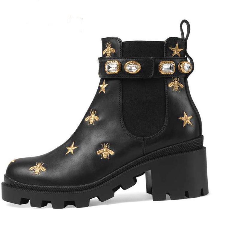 Martin botas 100% mulheres couro sapatos saltos clássico Bee altos de couro de alta salto alto moda botas Diamonds Senhora botas curtas tamanho grande 35-41-42