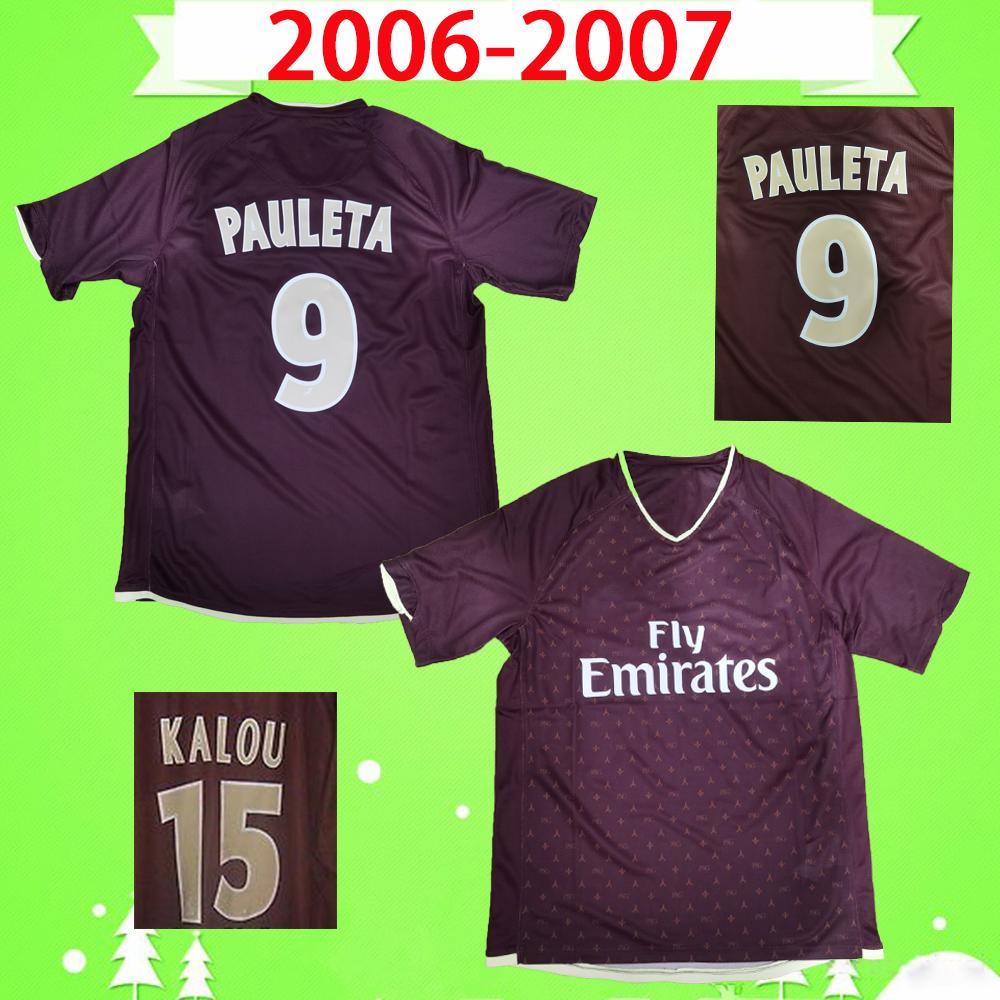 PSG jersey 발 드 2007 2006 축구 유니폼 레트로 06 07 클래식 레드 파리 거리에 빈티지 축구 셔츠 # 25 로텡 # 15 칼루 # 9 파울레타 타이츠