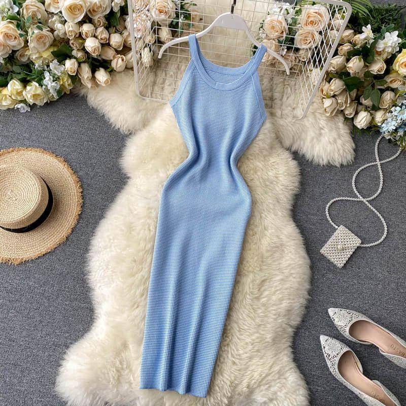 High Waist Hip Striped Patchwork Dress Women Clothes Skinny Vestido Sexy Sleeveless Off Shoulder Camis Summer Knit Holiday Ropa