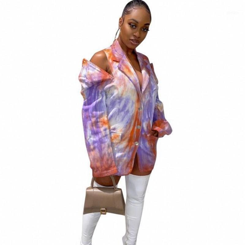 패션 넥타이 염료 인쇄 블레이저 여성 노치 목 전체 슬리브 자켓 outwear 가을 겨울 중공 streetwear 포켓 블레이저 mujer1