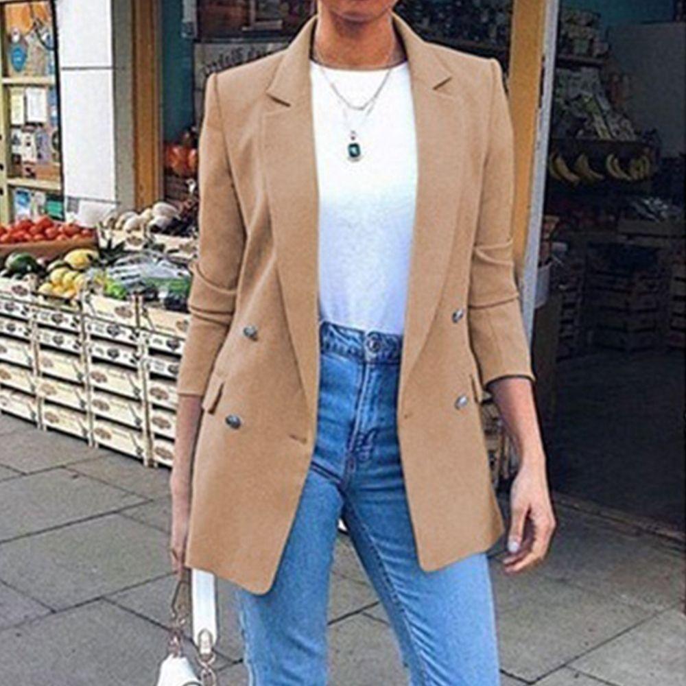 Роскошные женщины двубортный костюм куртка офис дамы тонкий подходящий костюм пальто длинные формальные Chaquea Mujer повседневная костюмы Blazer женщина X1214