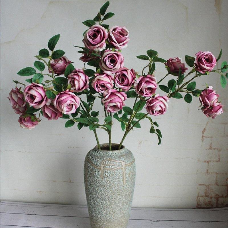 di rosa Germoglio fiori seta artificiale casa centrotavola flores decorazione di nozze di seta falsi fiori rose 9LQ6 #