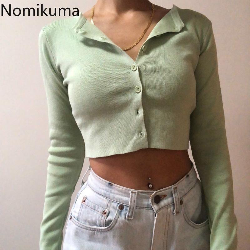 Nomikuma Women Thin Thind Cardigan Coreano O-cuello corto Punto de punto Moda de manga corta Protección solar Top Ropa Mujer 6B082 201104