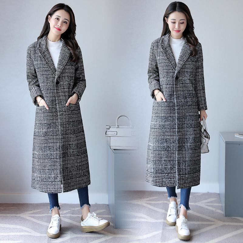 Elegante solapa larga para mujer 2 bolsillos chaquetas abrigos femenino ropa exterior Abrigo de lana a cuadros grueso talla grande D190803