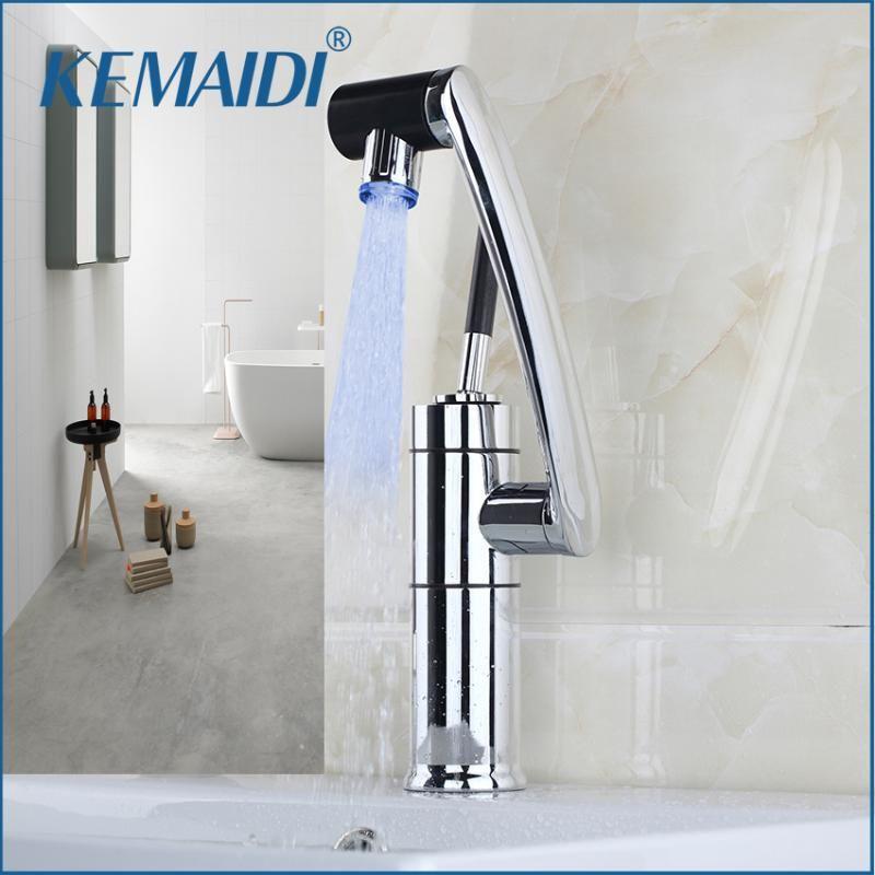 KEMAIDI Badezimmerhahn-Wasserhahn Temperatursensor LED-Licht 360 Swivel-Chrom-Waschbecken Becken Deck Messing Torneira Cozinha Tap Mixer Armaturen