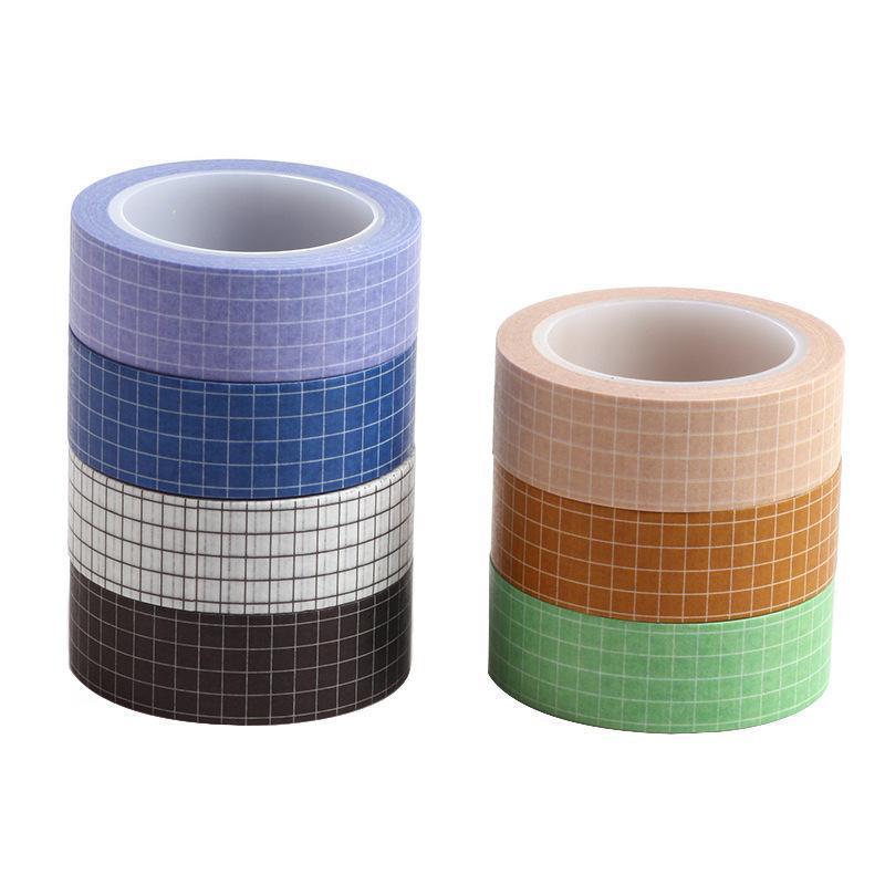 5 pezzi / lotto 10m Pure Color Grid Washi Tape Set Masking nastro journaling Forniture nastro lavativo Organizer Lavabitape Cancelleria Sticker Scra 2016