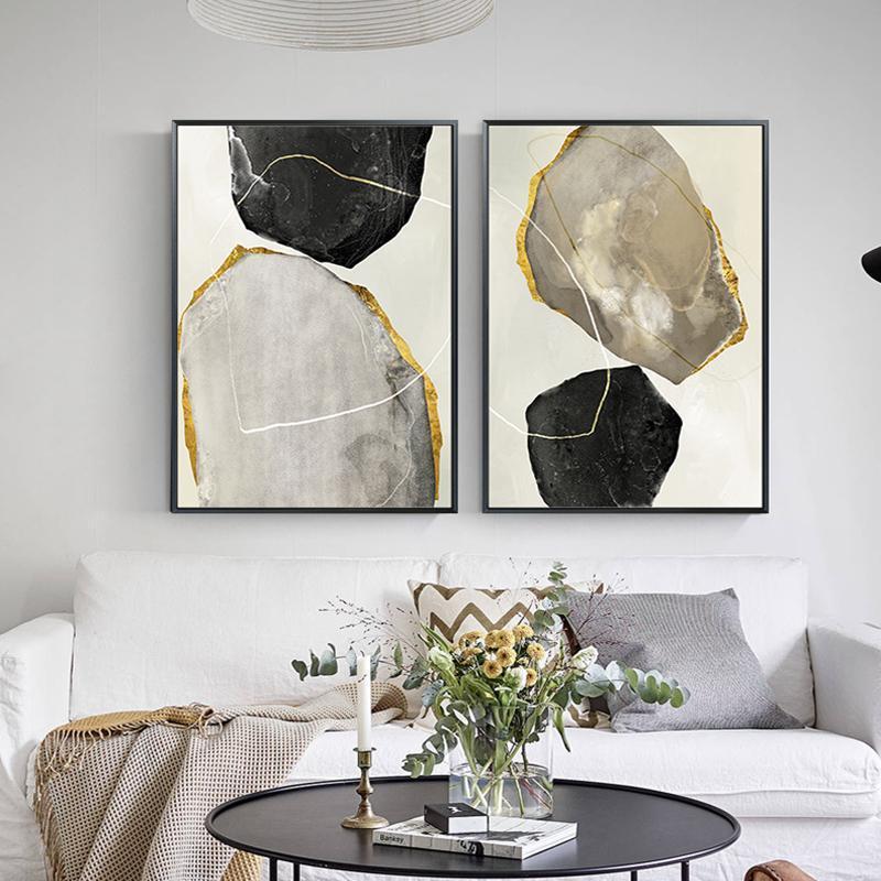 Marcos Nordic Modern Golden Lienzo Pintura de pintura e impresión Cartel para la sala de estar Arte de la pared Black White Decoration Decoración de la casa Noframe