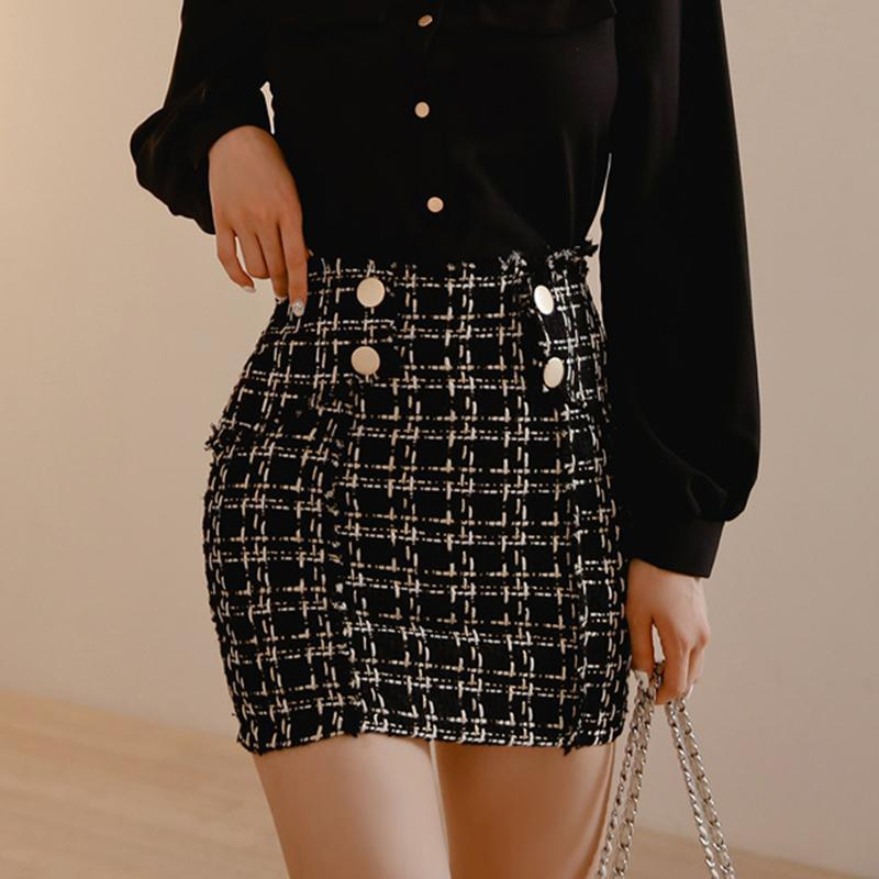Skirts Plaid Tweed Skirt Women Vintage Bodycorn Pencil Autumn Wool Tassel Mini Warp Korean Black Plus Size Button W403