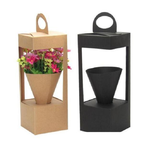 Flowers Packaging Gift Boxes Floral Gift Bag lighthouse design Creative folding floral Packing Box Black