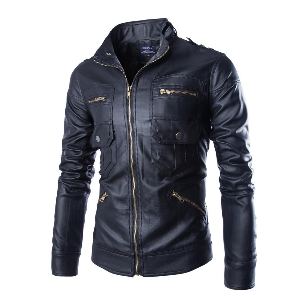Otoño de los hombres Chaquetas de motocicleta de alta calidad Hombres Slim Casual PU Abrigos de cuero Outwear Jaqueta