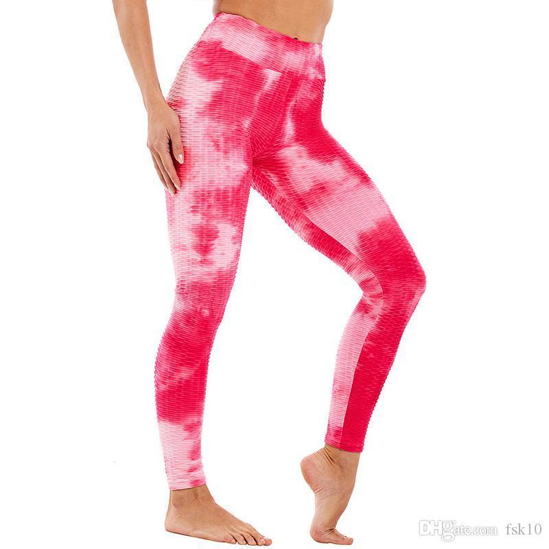 Tie Dye гетры для фитнеса Scrunch Bum гетры Женщины Спорт Колготки 2020 Йога Брюки тренировки Спорт Фитнесс Розовый