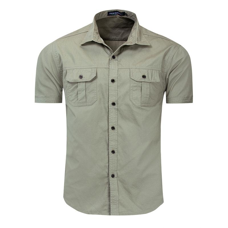 남성 버튼 야외 셔츠로 정기적 인 짧은 소매 플란넬 캐주얼 남성용 코튼 셔츠 자켓 코트 망 육군 녹색 탑스 크기 3XL 55889
