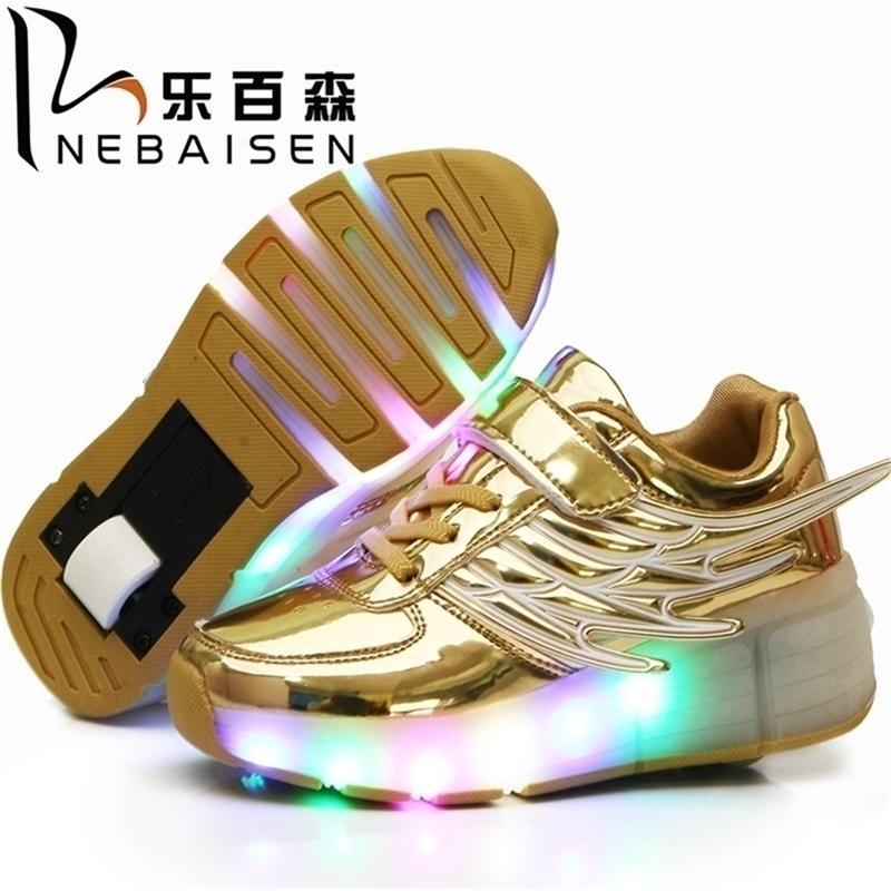 Meninas de Nebaisen meninos conduziram sapatos de skate de luz de luz para crianças grandes crianças adultos sapatilhas com uma rodas y201028