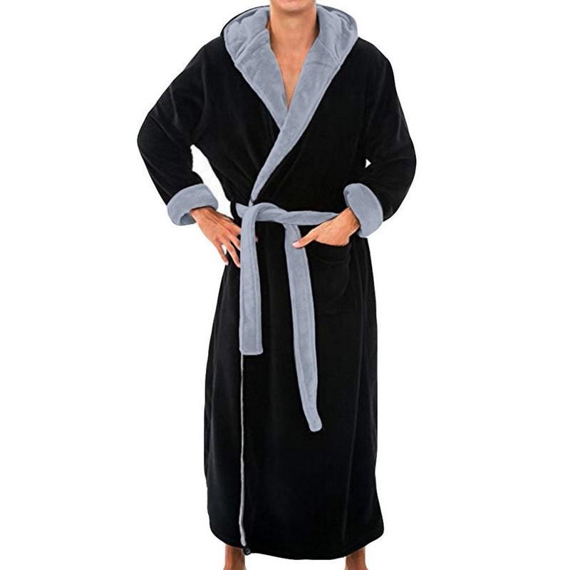 Erkekler Rasgele Flanel Robe Bornoz Yumuşak Homewear Kimono Elbise pijamalar Kış Coral Polar Gecelik Sonbahar Kış geceliğini Isınma