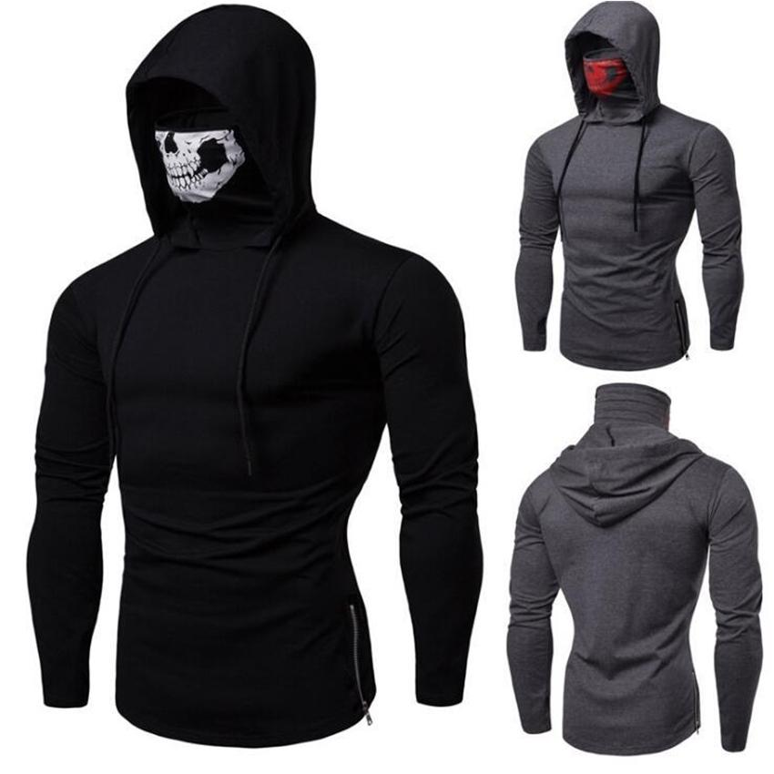 Mask Skull Design Mens Hoodies Slim Hooded Sweatshirts Solid Color Blouse Sudaderas Para Jogger GYM Hoodies Hommes Tops