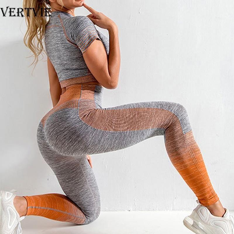 VERTVIE Women Yoga Sets Yoga Short Sleeve Tops High Waist Sport Leggings Gym Set Running Sports Suit Gradient Fitness Shirt