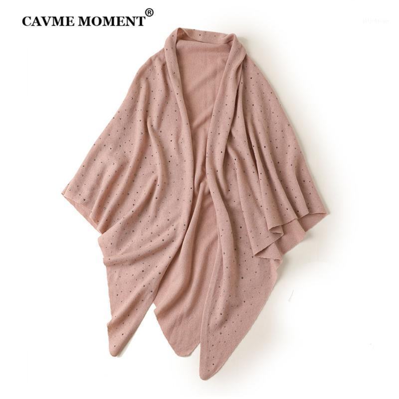 Cavme треугольник-шарф шерсть кашемировые женщины элегантные вязать твердого цвета вязание шарфы мусульманский стиль 140 * 200см 202г1