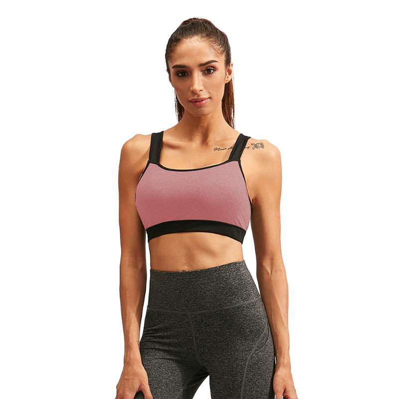 Spor Yoga Push Up Sport Brassiere Koşu Spor Kadınlar Spor Bras Tank Top yastıklı Egzersiz Yelek Backless Racerback Splice Renk