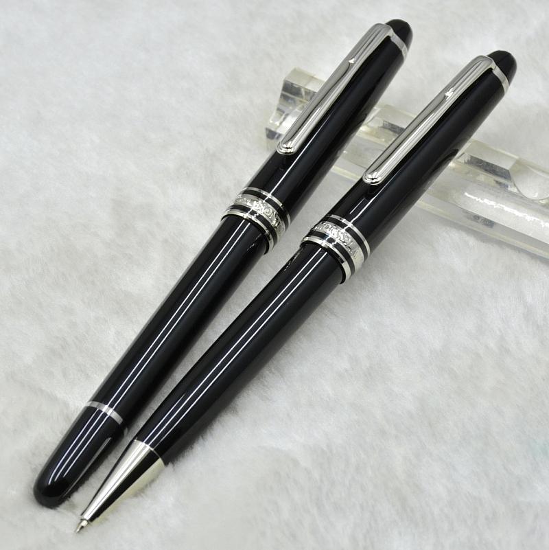 Sıcak Satış - Lüks MSK-163 Klasik Siyah Reçine Rollerball Kalem Tükenmez Kalem Çeşme Kalem Kırtasiye Okul Ofis Arzı Seri Numarası ile