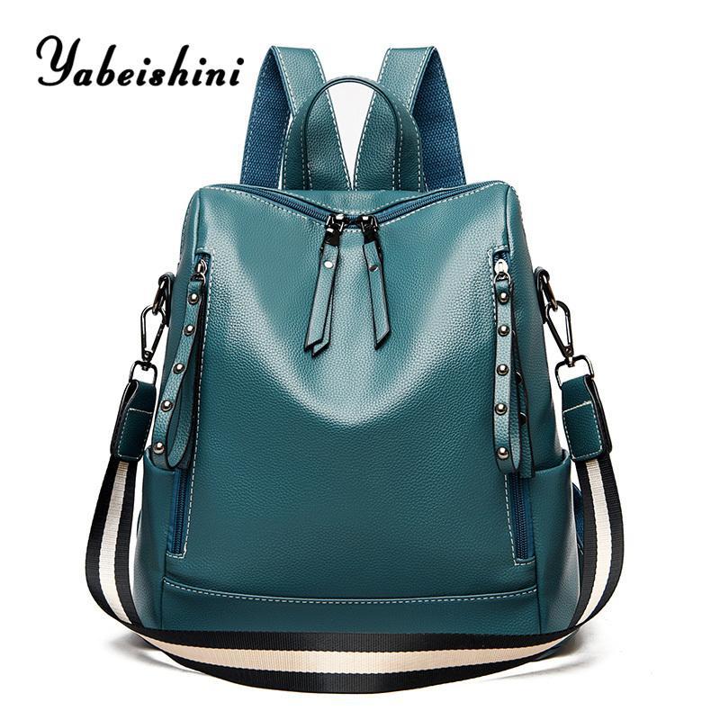 Fashion women Multifunctional Ladies travel leather backpack high quality Wide shoulder strap Female school bag mochila Q1113