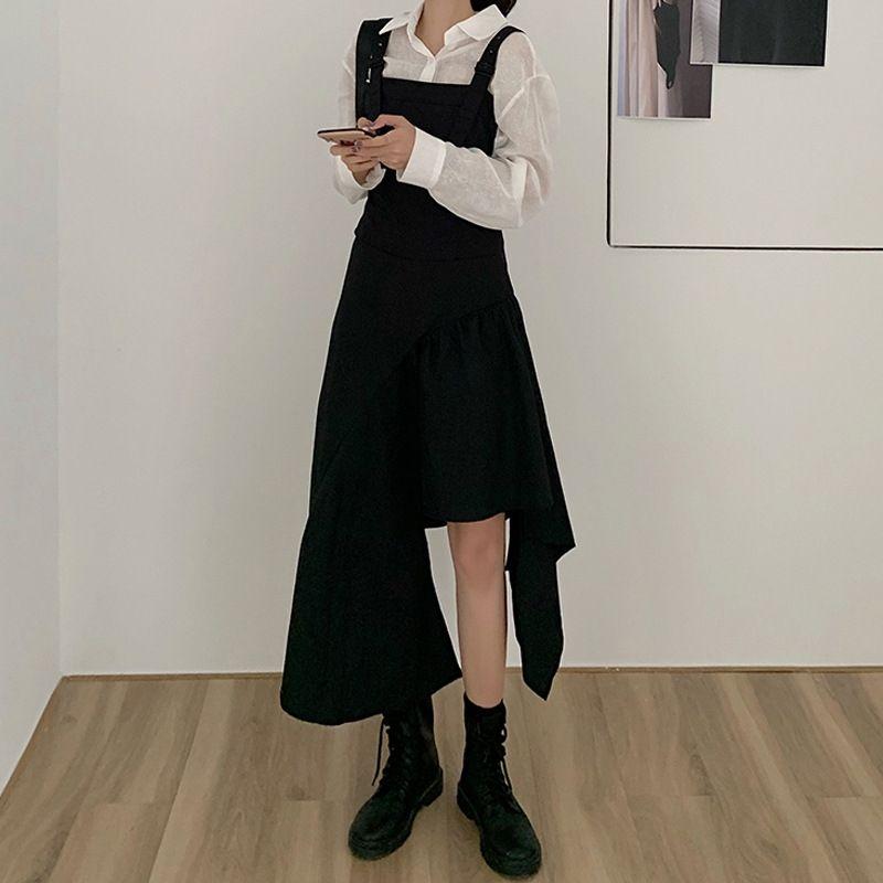 58w0G Art Rock lang Rock Herbst 2020 Temperament unregelmäßiger Entwurf Kleidfrauen der kleine schwarzes Kleid zeigt dünne neue lange Schiene zurück lICH0