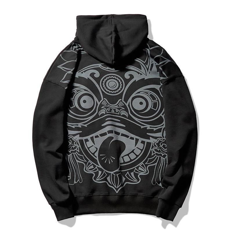 Nouveau 2021 Graffiti Lion Dance Sweat Sweat-shirt Peluche Sweatshirts en peluche Hommes Sweat à capuche Hip Hop Hop Stranger Hoodies