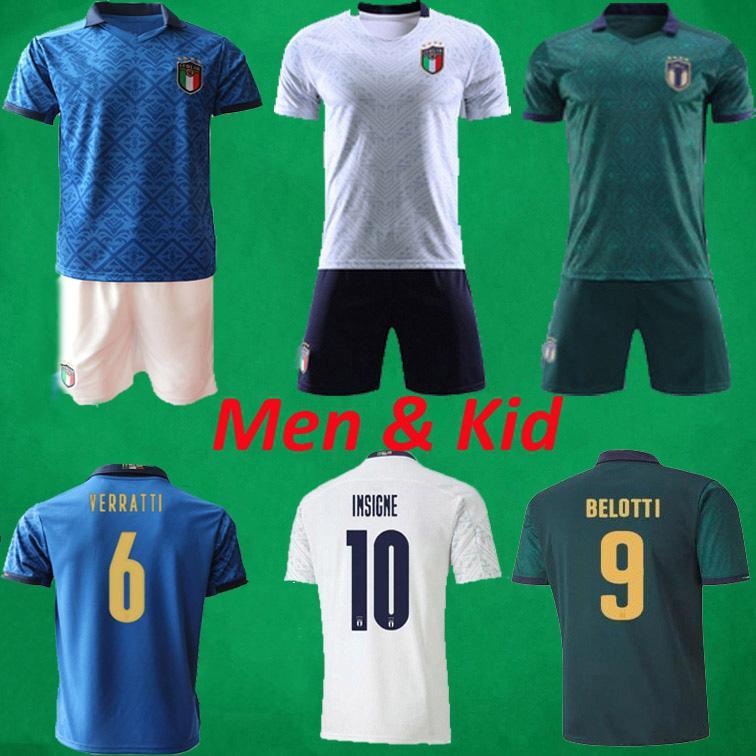20 21 ITALIE Football Maillots Hommes + Enfants Football 2020 Chemises Ensembles Italia 2021 INSIGNE Jorginho Verratti de football Chemises ITALIENNE Kits de football