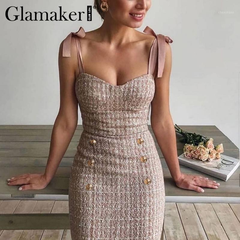 Casual Kleider Glamakak Tweed Grid Lace Up ärmelloses Kleid Elegante Knöpfe Bodycon Sommer Party Nacht Sexy Kurze Sommerkleid1