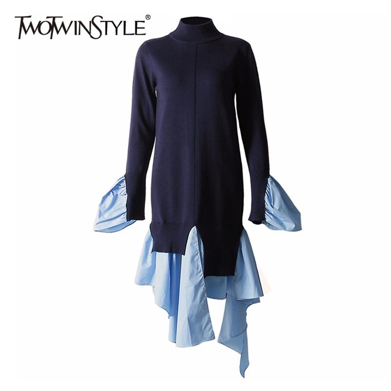 Twotwinstyle Patchwork Rahat Kazak Kadınlar O Boyun Uzun Kollu Düzensiz Hem Gevşek Kazak Kadın Güz Moda Yeni Gelgit 201221