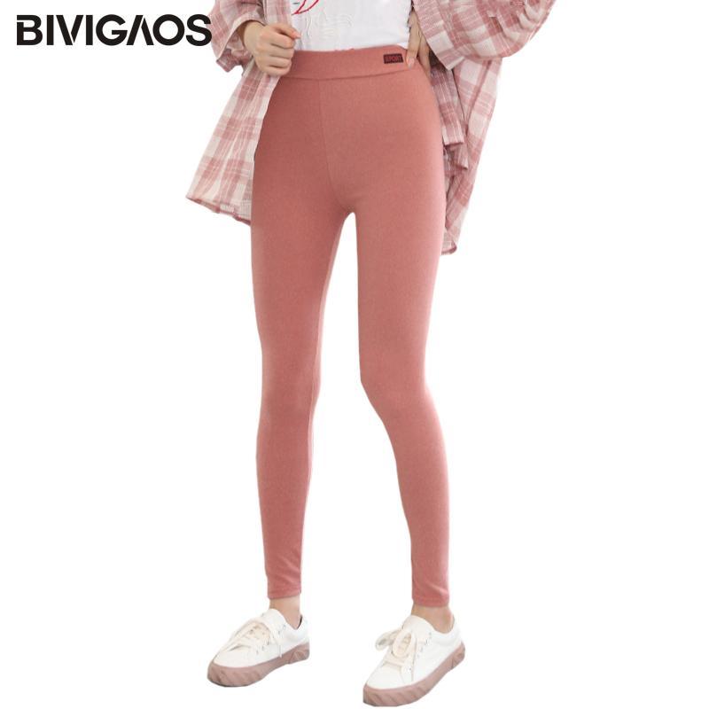 BIVIGAOS koreanische bunten Frauen Workout Gamaschen Art und Weise elastische Bleistift-Hosen Frühling und Herbst Velvet Warm Sport Leggings Plus Size 0927