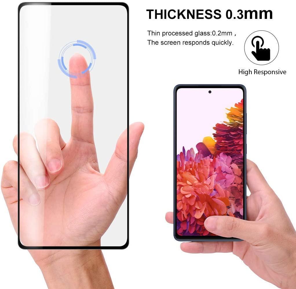 Para Samsung S20 FE Tampa 5G completa protetor de tela completa Glue No Hole Fingerprint Desbloqueio bolha de alta Responsivity vidro temperado