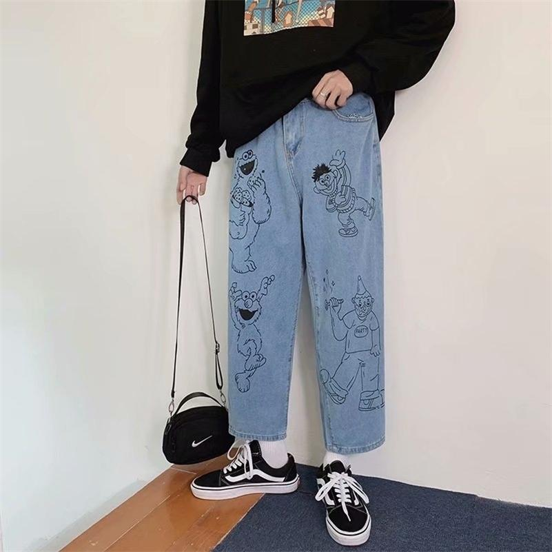 Jeans stampato dei cartoni animati da uomo Straight Slip Hip-hop popolare studente coreano hong kong stile lunghezza caviglia pantaloni 201223