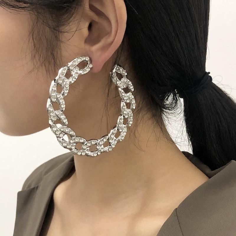 2021 Yeni Tasarım Vintage Zincir Hoop Küpe Kadınlar Için Büyük Altın Yuvarlak Küpe Takı Moda Kadın Bildirimi Brincos Hediyeler