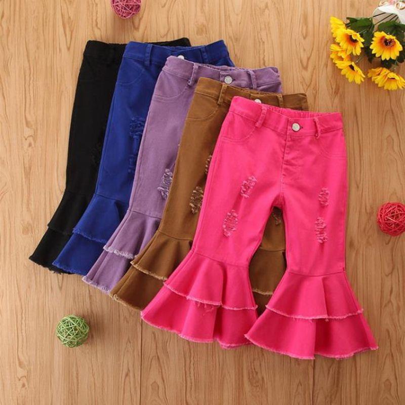 Детские джинсы для девочек Твердая Дети Девушка Flared Брюки кнопки Джинсовые брюки Hole Разорванные брюки Мода Одежда Дети 5 цветов DW5942