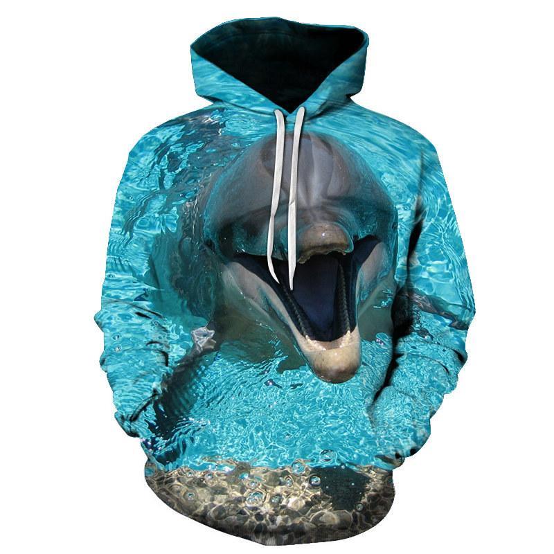 Lovely Dolphin hoodie Men Women 3D Sweatshirt Fashion Casual Tracksuits Famale Jackets Hooded Pullover Hip Hop Street Sweatshirt 201007