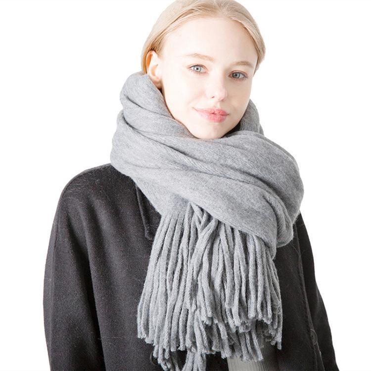 monocromático otoño e invierno nuevo estilo de largo con flecos de lana pura de color falso bufanda de los hombres y mujeres de punto por urdimbre gruesa bufanda chal