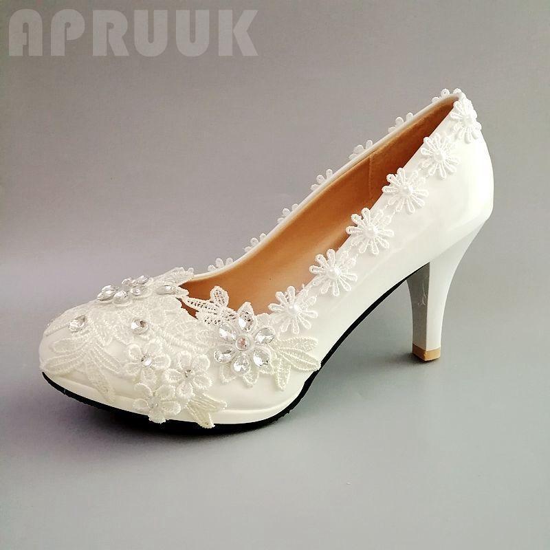 9cm Super High Tacones Lace Bombas Zapatillas Mujer Ladies Hecho A Mano De Lujo Plataformas De Lujo Plataforma Partido De Dama De Brides De Dama Brida