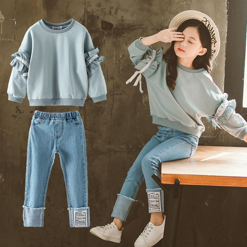 Baby Girl Ropa Set Spring en Big Children's Lace Mensajes Jeans Ropa Girl Ropa Set Muchacha Ropa Autumn Niños Ropax1019