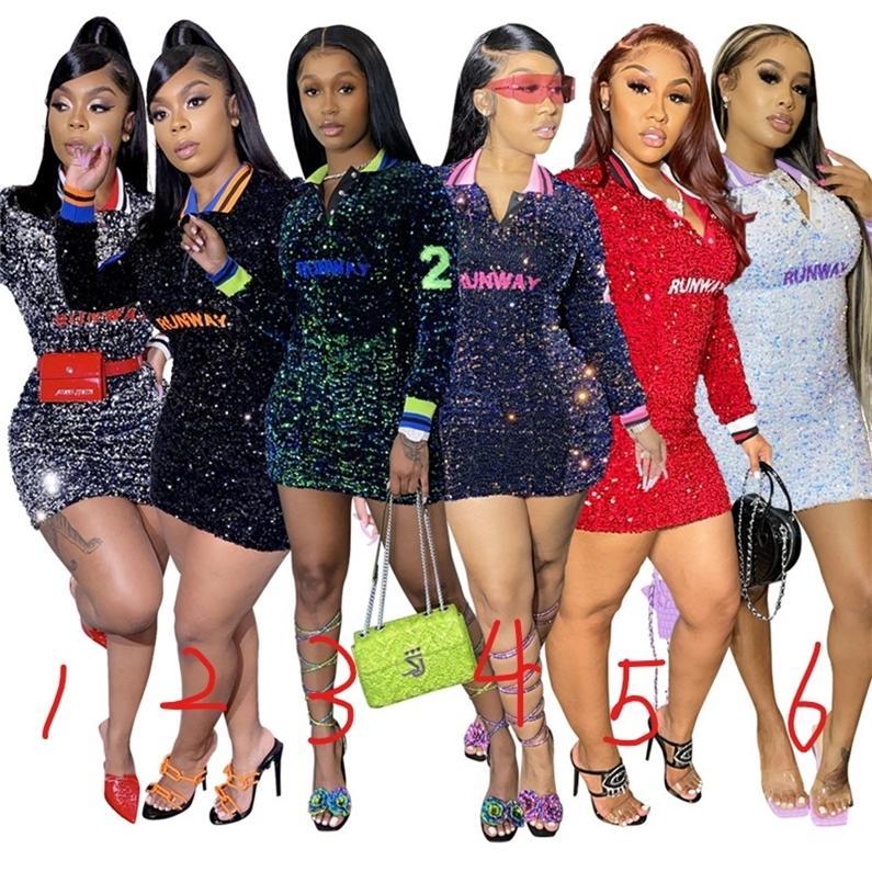 Glitter Seksi V Boyun Sequins Elbise Kadınlar Uzun Kollu Bodycon Mini Elbise Moda Bayanlar Gece Kulübü Elbise Pist Harfleri Sıkı Elbiseler G12605