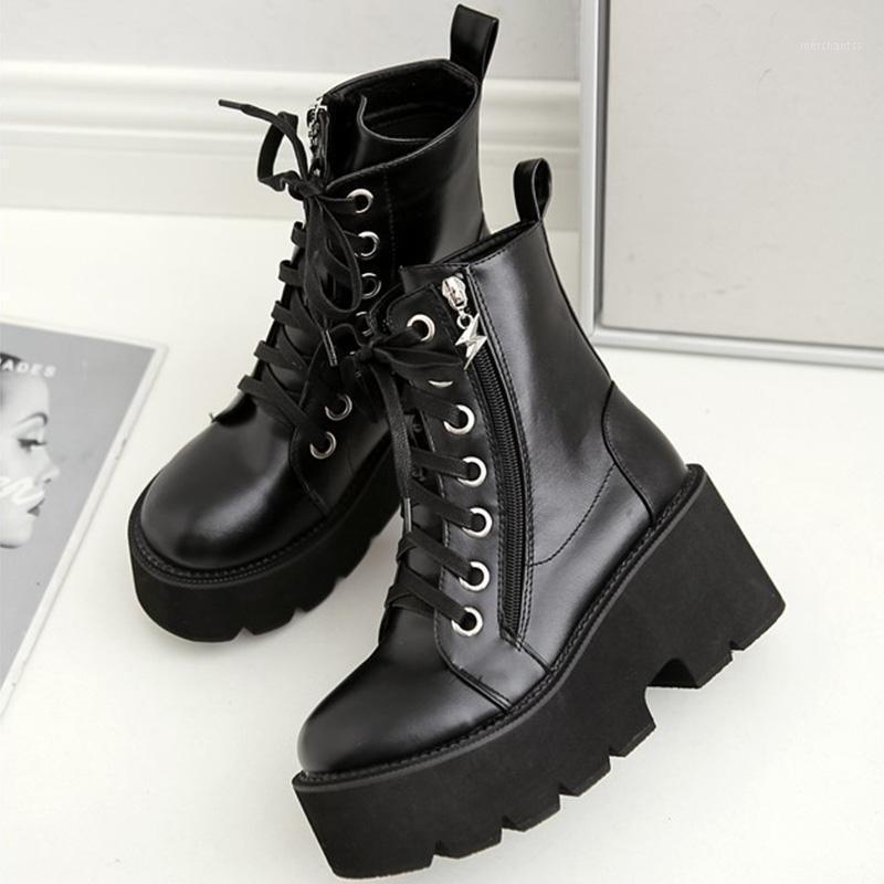 جولة تو مكتنزة منصة المرأة الأحذية الدانتيل يصل الأحذية النساء الكاحل للنساء أسود فاسق القوط SWE07911