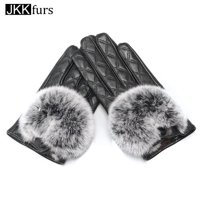 Fünf Fingerhandschuhe Frauen Touchscreen Handschuh Winter Ankunft Original Schaffell Leder Pelz Weich gezeichnet Warm S2027