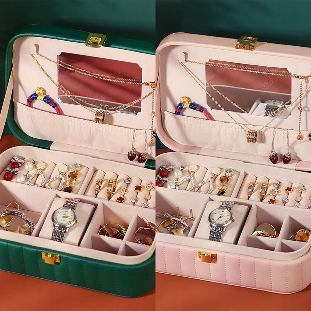 criativo jóias de vários compartimento coreano portátil exibição viagem boxEarrings boxJewelry Colar Brinco exibir caixa kGBPX