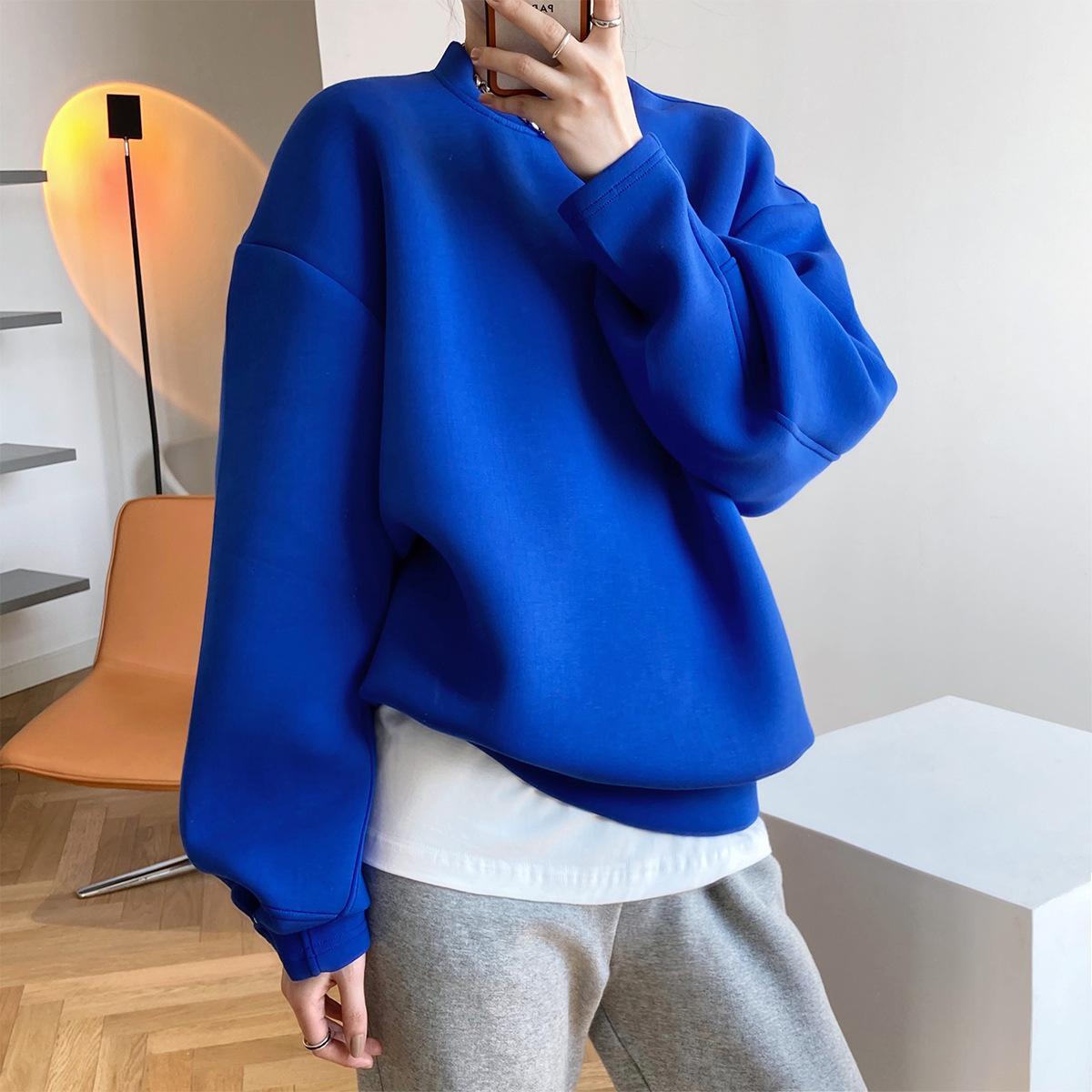 Neue 2021 Frühling langarm Dicke Oansatz Reine Farbe Warme Übergroße Stil Blaue Hoodies Frauen Tops Uaud