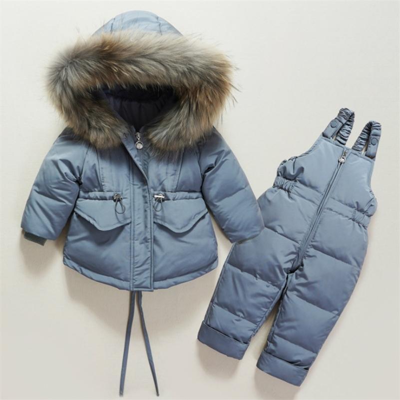Новый зимний детский костюм пуховик двое кусок мальчика и девочка вниз куртка BIB -30 зимний укусный лыжный костюм утолщенные пуховики 201126
