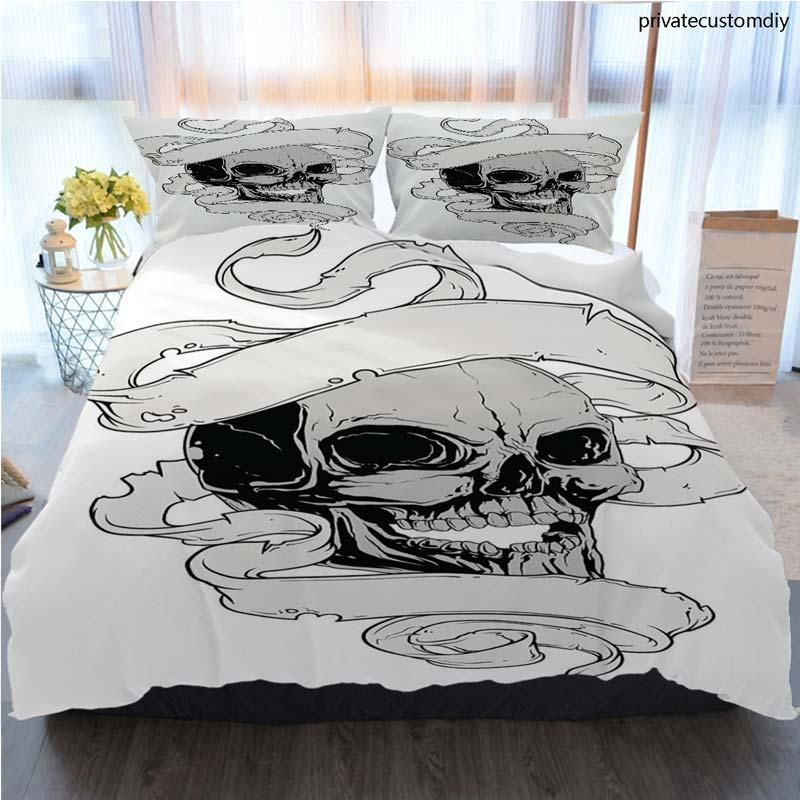 Designer Bed Comforters Sets Luxury 3PCS Home Bedding Set Evil Human Skull And White Ribbon Bed Cover With Pillowcase